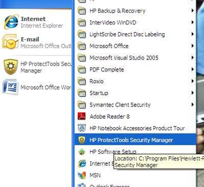 HP laptop security tools program