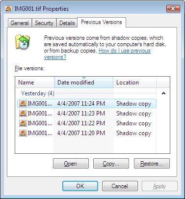 Windows Volume Shadow Copy Screen shot