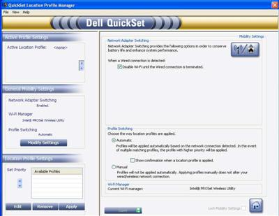 Dell quickset